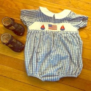 Gingham smocked Fourth of July romper USA 🇺🇸